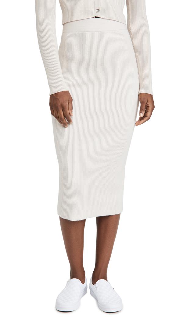Re:named Re: Named Gigi Knit Long Skirt In Beige