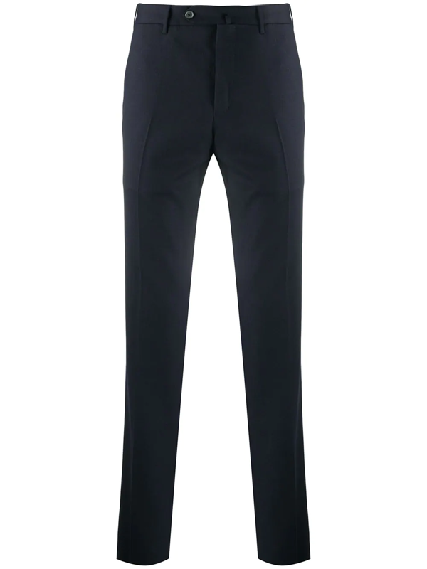 Pt01 Virgin Wool Tailored Trousers In Blue