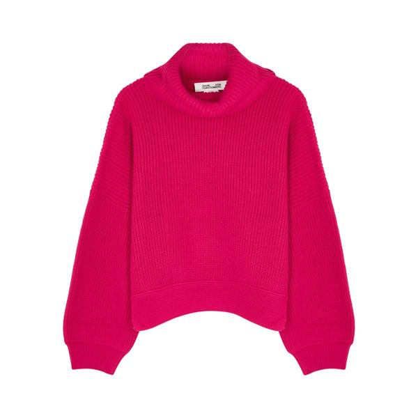 Diane Von Furstenberg Baylor Ribbed Merino Wool-blend Turtleneck Sweater In Fuchsia