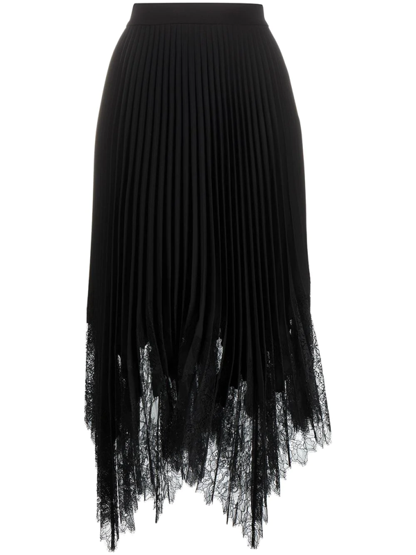 Tory Burch Black Lace-trimmed Pleated Midi Skirt