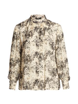 Lafayette 148 Women's Mattea Printed Stand Collar Blouse In Parchment