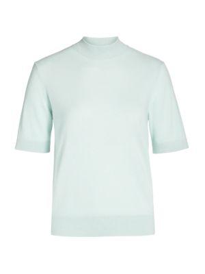Lafayette 148 Women's Mockneck Short-sleeve Cashmere Sweater In Dew Drop Melange
