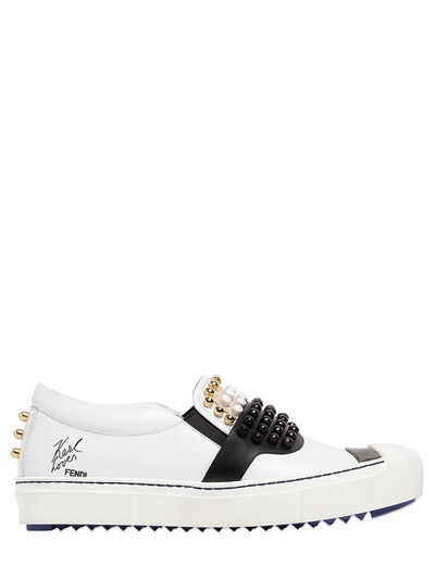 Fendi Embellished Slip-on Leather Sneakers In White