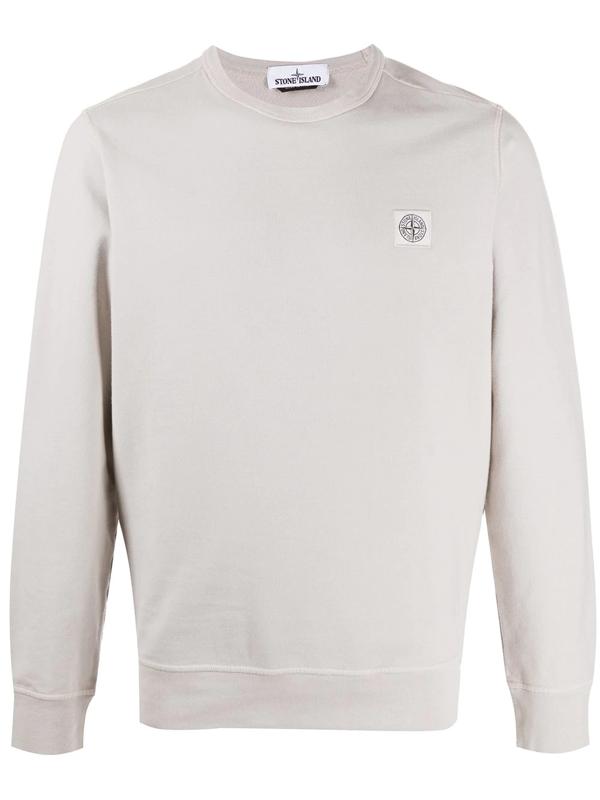 Stone Island Logo Patch Sweatshirt In Neutrals