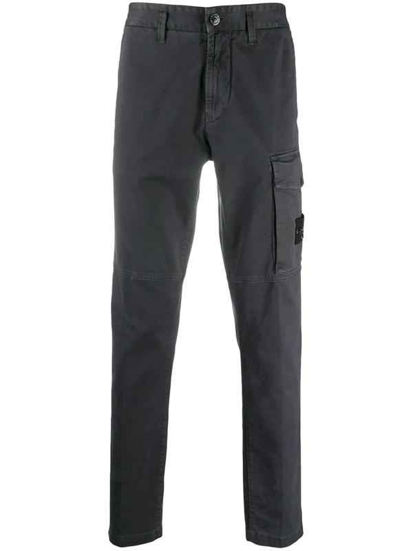 Stone Island Logo Patch Cargo Trousers In Grey