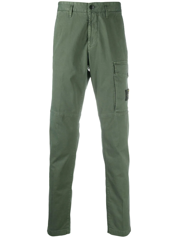 Stone Island Logo Patch Cargo Trousers In Green