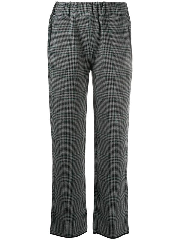 Emporio Armani Glen Check Trousers In Black