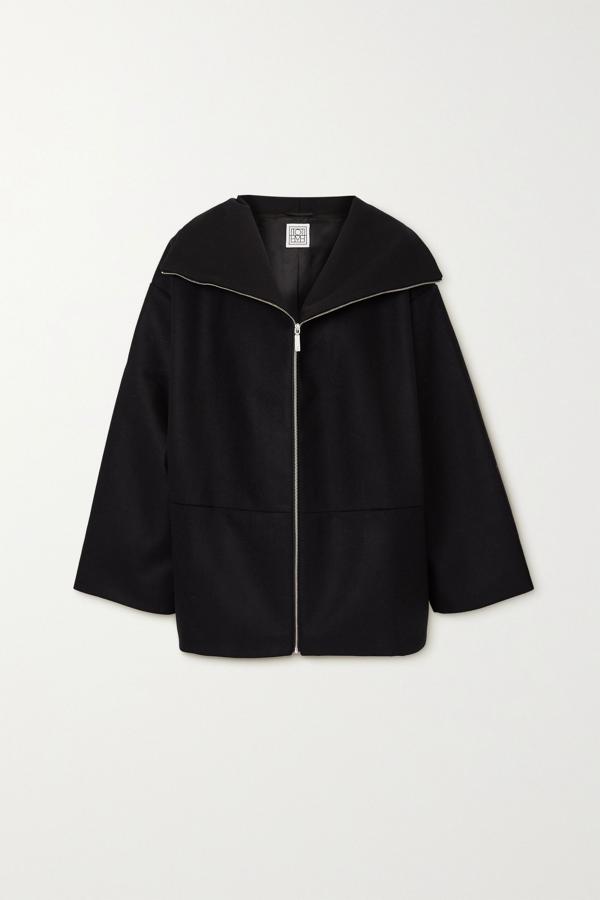 Totême Menfi Oversize Wool Blend Coat In Black