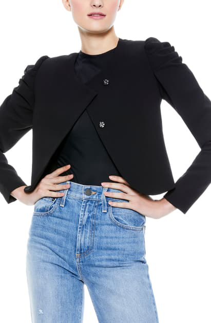 Alice And Olivia Women's Addison Puff-sleeve Cropped Jacket In Black