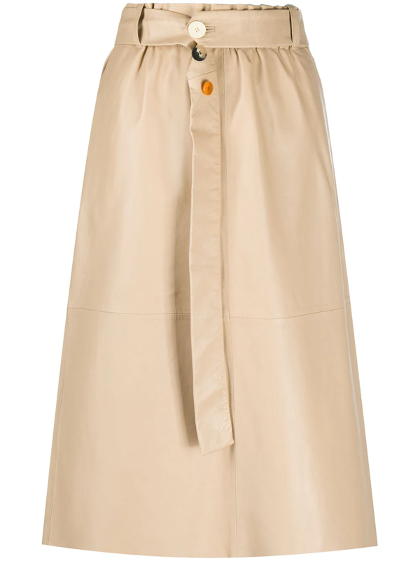 Alysi A-line Leather Skirt In Neutrals