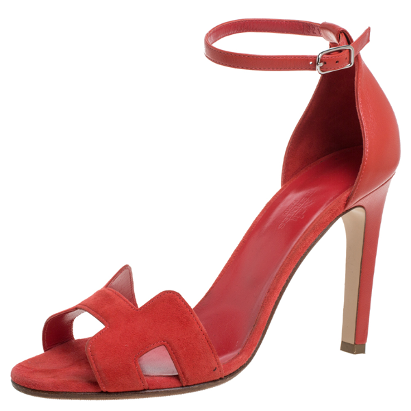 Pre-owned Hermes Red Suede And Leather Premiere Sandals Size 39