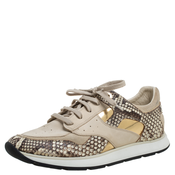 Pre-owned Louis Vuitton Beige Suede Leather And Python Trim Run Away Low Top Sneakers Size 39