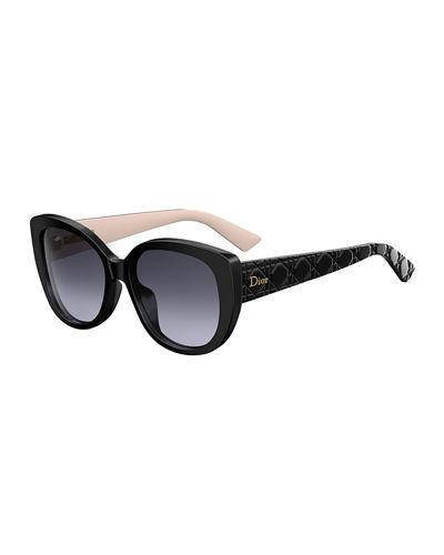 0f57b52d51d7 Dior Lady1 Oversized Cannage Cat-Eye Sunglasses In Black