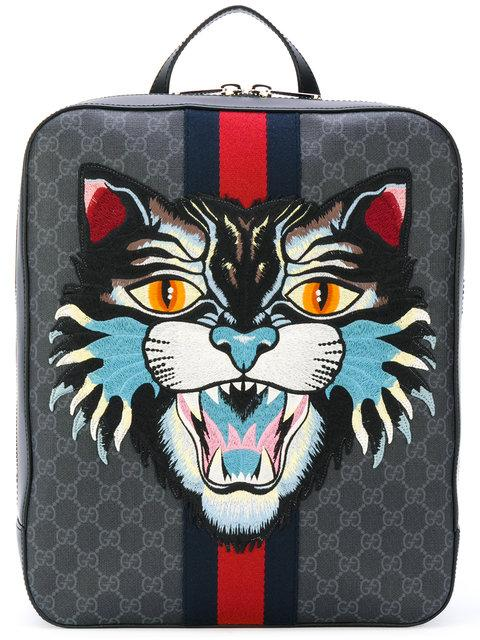 9bf46a8cddc7 Gucci Gg Supreme Backpack With Angry Cat In Black | ModeSens