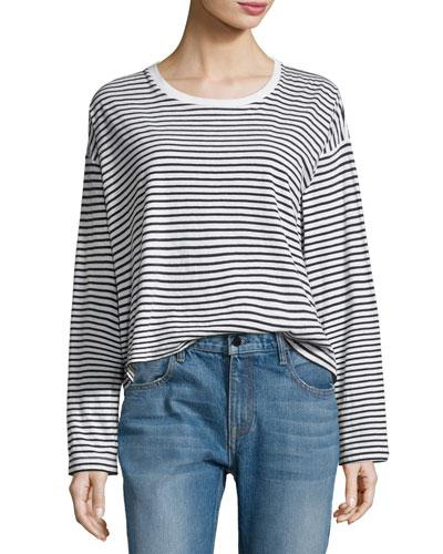 T By Alexander Wang Long-Sleeve Drop Shoulder Striped Cotton Tee, White