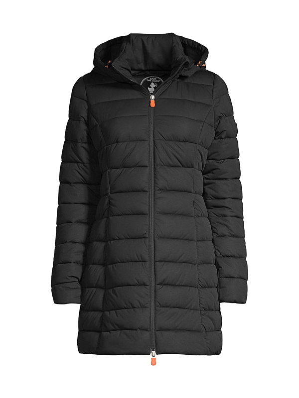 Save The Duck Seal Stretch Water Resistant Quilted Coat In Black