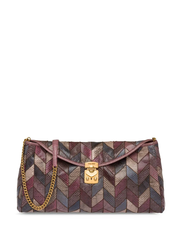 Miu Miu Snakeskin Fold-over Clutch In Blue