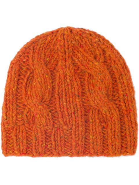 Prada Cable-knit Beanie Hat In Orange