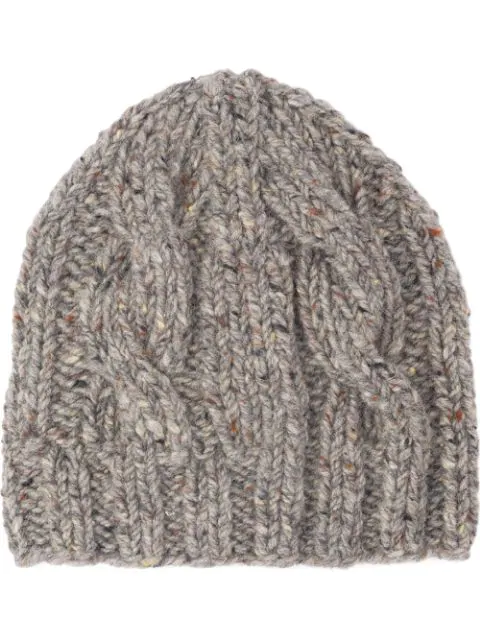 Prada Cable-knit Beanie Hat In Grey