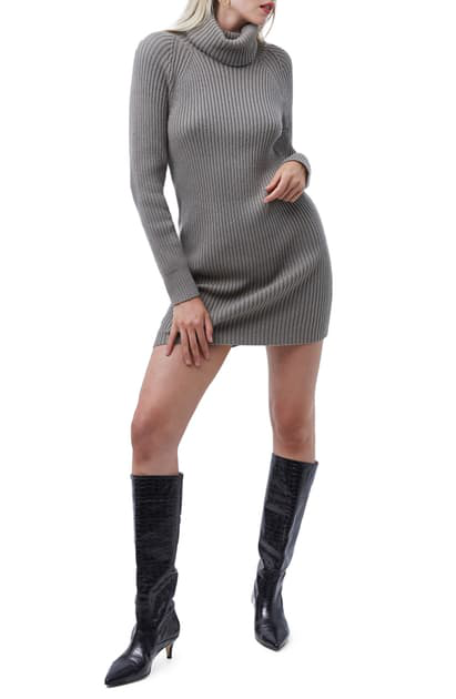 French Connection Katerina Long Sleeve Turtleneck Minidress In Light Tarmac Khaki