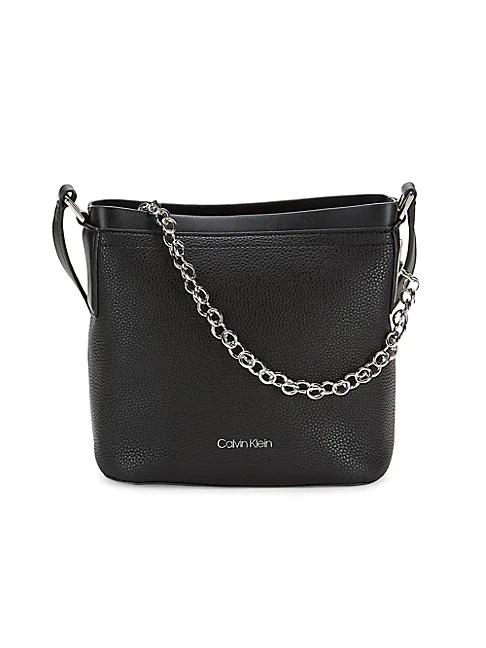 Calvin Klein Hailey Convertible Crossbody/shoulder Bag In Black/silver