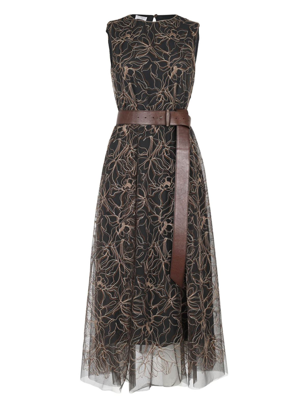 Brunello Cucinelli Embroidered Floral Tulle Sleeveless Dress In Black