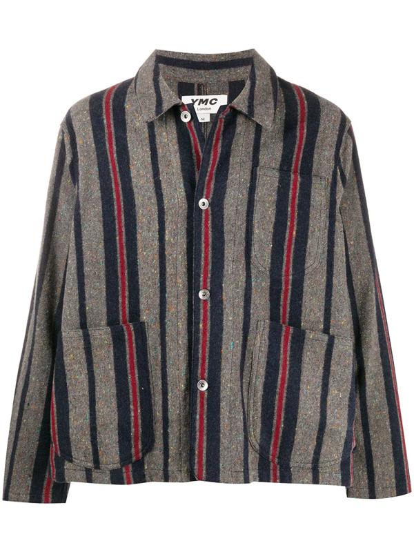 Ymc You Must Create Cubist Striped Flecked Wool-blend Shirt Jacket In Grey