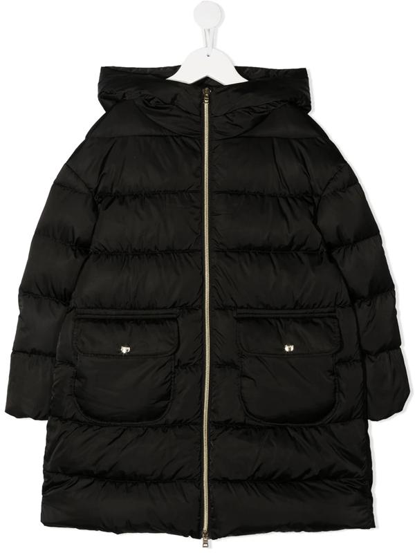 Herno Teen Long-sleeved Puffer Jacket In Black