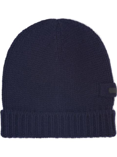 Prada Logo Patch Knitted Beanie In Blue