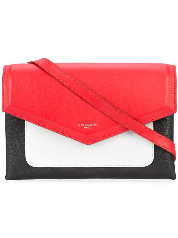 Givenchy Duetto Color-block Smooth And Textured-leather Shoulder Bag In Multicoloured