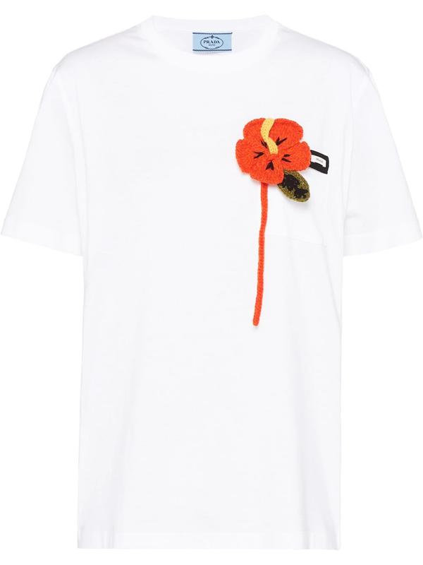Prada Floral Appliqué T-shirt In White