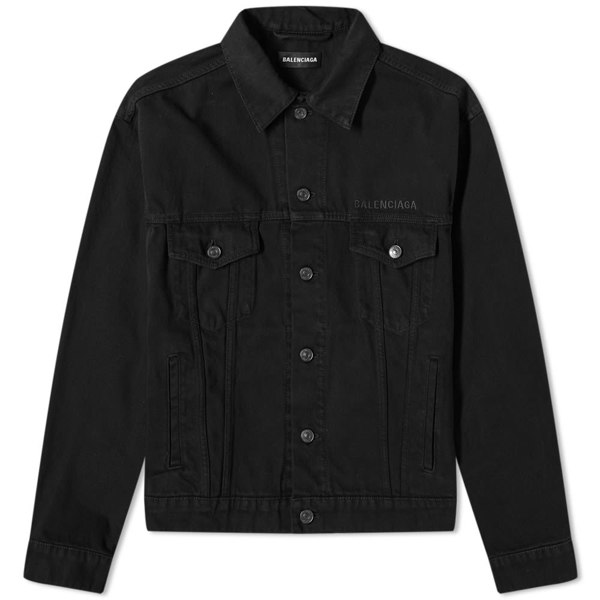 Balenciaga Logo Embroidered Denim Jacket In Black