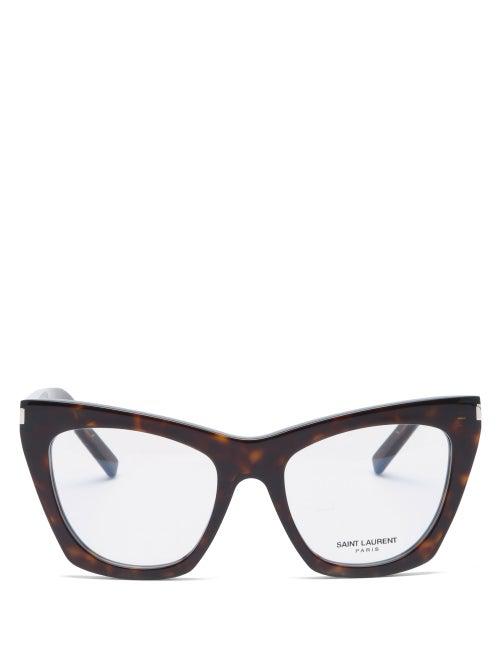 Saint Laurent Kate Cat-eye Acetate Glasses In Dark Havana