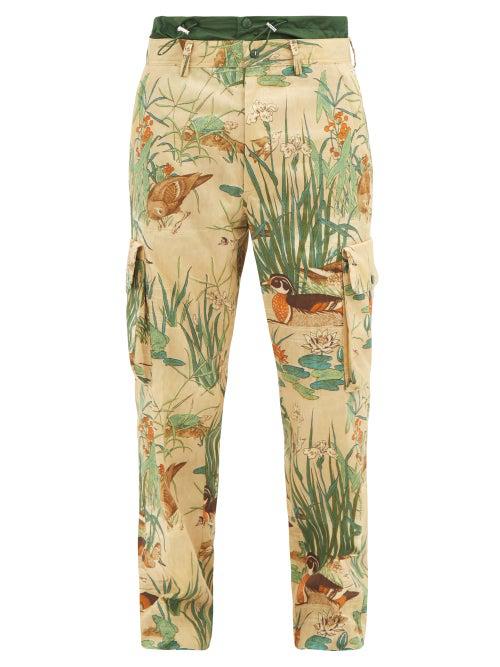 Moncler Illustrative-print Cotton-gabardine Cargo Trousers In Multi