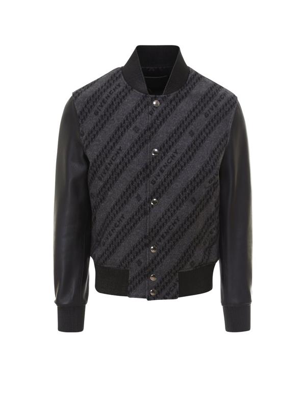 Givenchy Logo Chain Intarsia Jacket In Black
