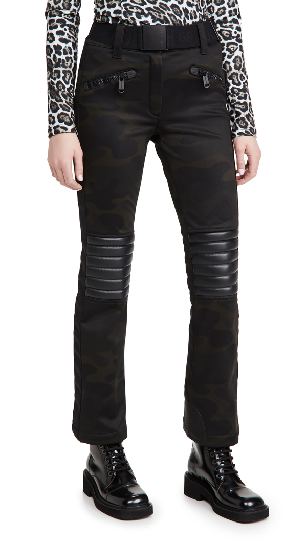 Goldbergh Battle Belted Camouflage-print Bootcut Ski Pants In Army Green