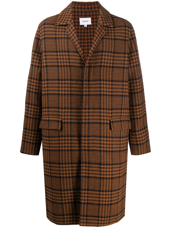 Nanushka Malick Single-breasted Checked Wool-blend Coat In Brown