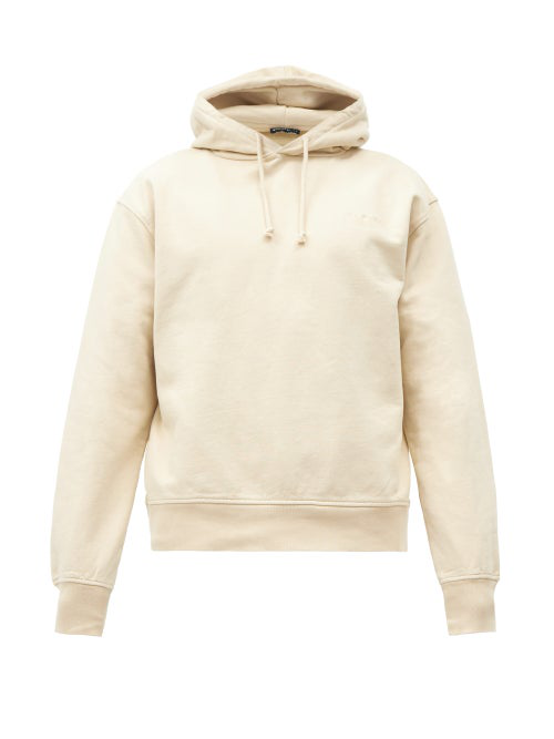 Jacquemus Logo-embroidered Cotton Hooded Sweatshirt In Beige