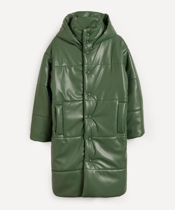 Nanushka Eska Green Quilted Faux Leather Coat In Bottle Green