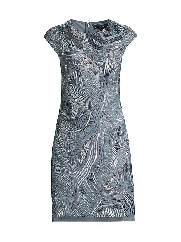 Aidan Mattox Women's Beaded Cocktail Dress In Smoke