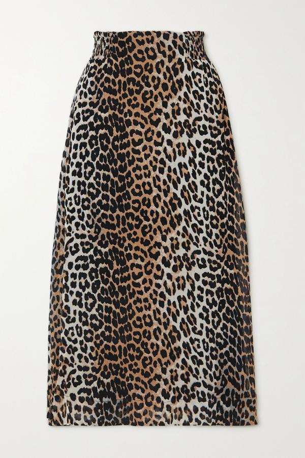 Ganni Leopard-print Georgette Midi Skirt In Leopard Print