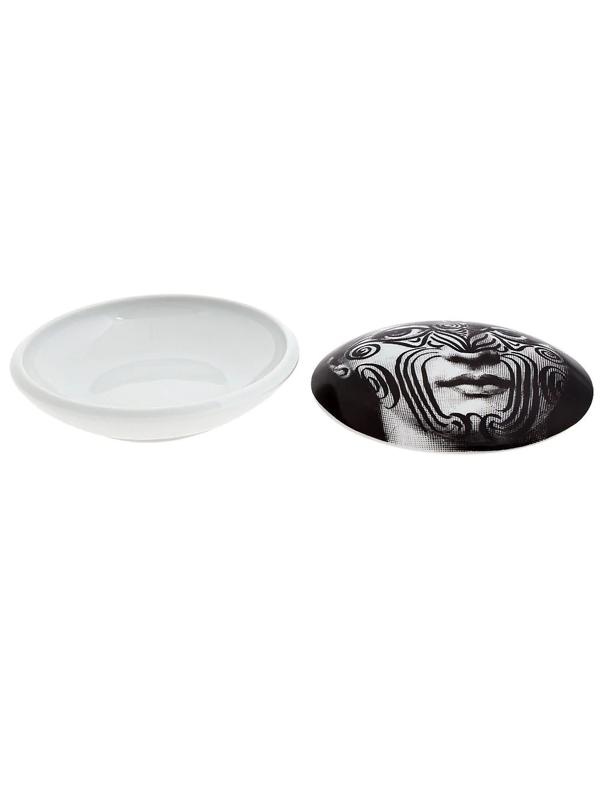 Fornasetti Printed Ceramic Box In Black