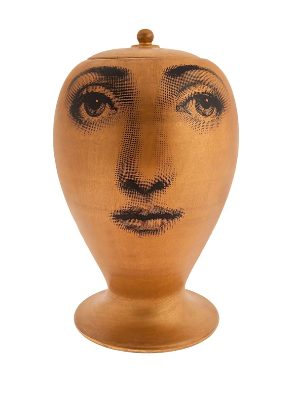 Fornasetti Face Print Vase In Yellow