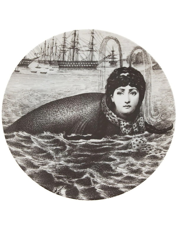 Fornasetti Printed Plate In Grey