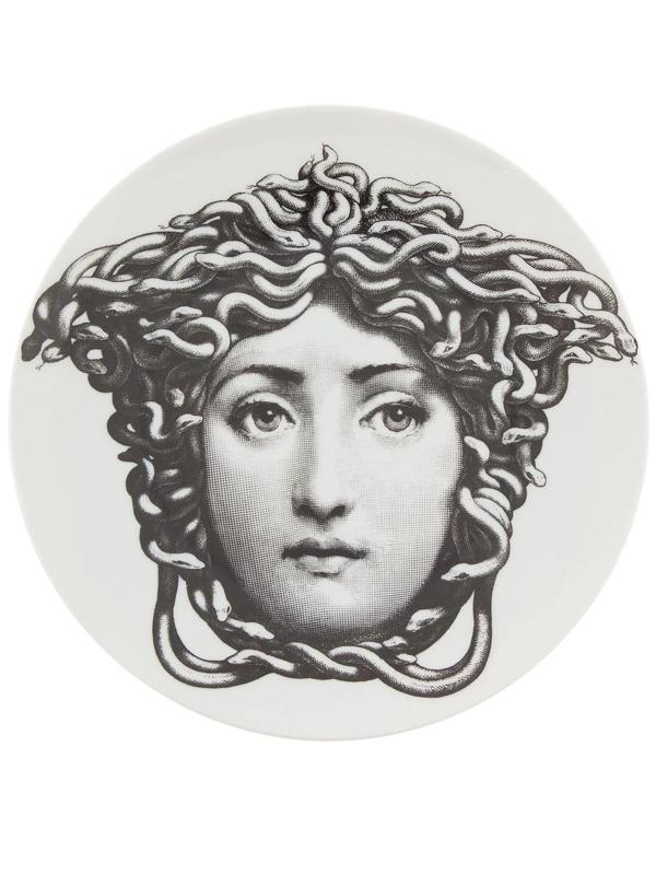 Fornasetti Medusa Printed Plate In White