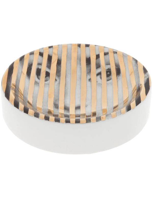 Fornasetti Striped Dish In Yellow