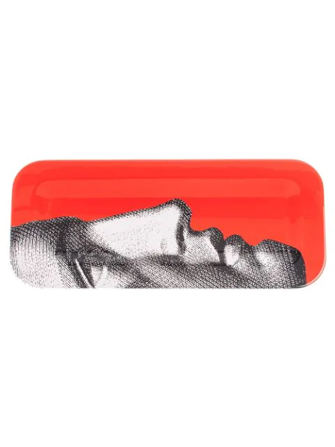 Fornasetti Profile Print Tray In Red