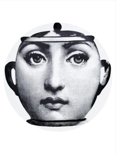 Fornasetti Face Print Plate In White