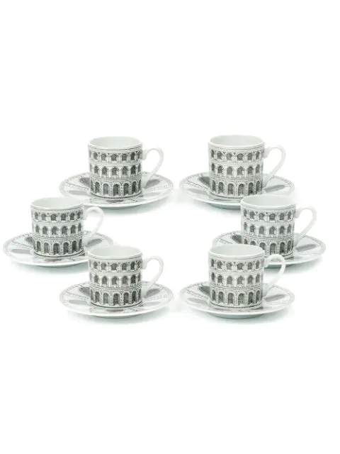 Fornasetti Archi Coffee Cup Set In White