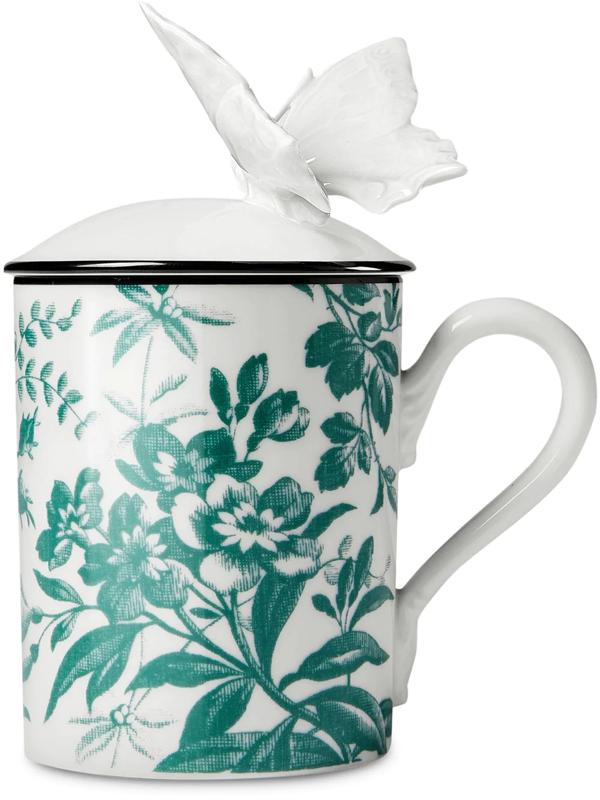 Gucci Herbarium Butterfly Mug In White